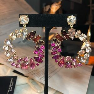 J. Crew Mixed Crystal Circle Statement Earrings